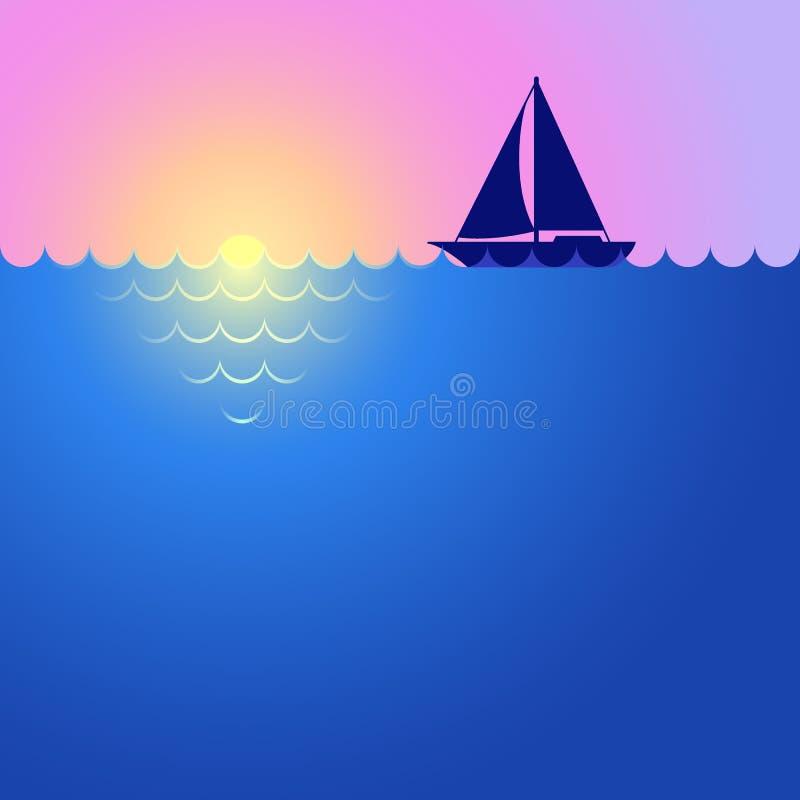 Sunset, sunrise, boat and ocean. Landscape with yacht. Yacht sailing on horizon. Sea cruise vector illustration