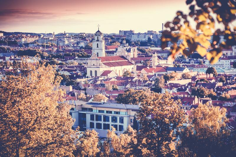 Sunset Sunrise Cityscape Of Vilnius, Lithuania In autumn. Beautiful Panoramic View In Evening stock image