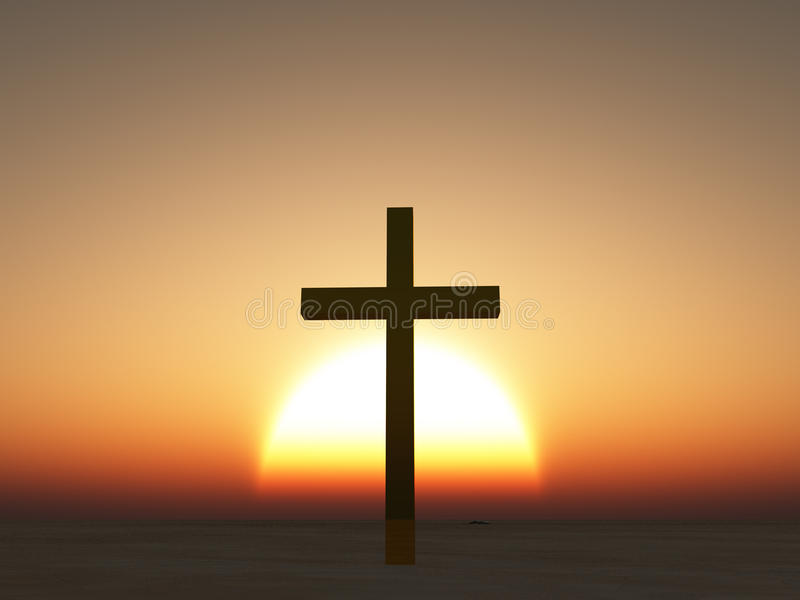 Download Sunset or sunrise cross stock illustration. Image of christianity - 26573563