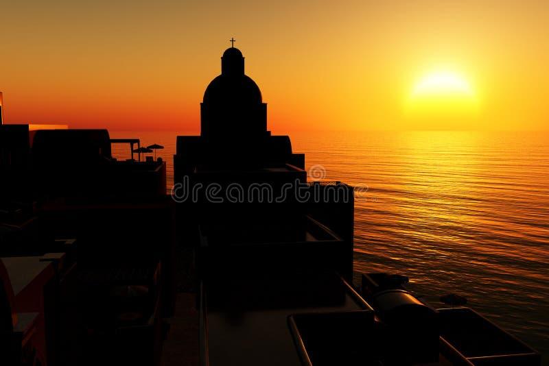 Sunset /sunrise in Greece 3D render vector illustration