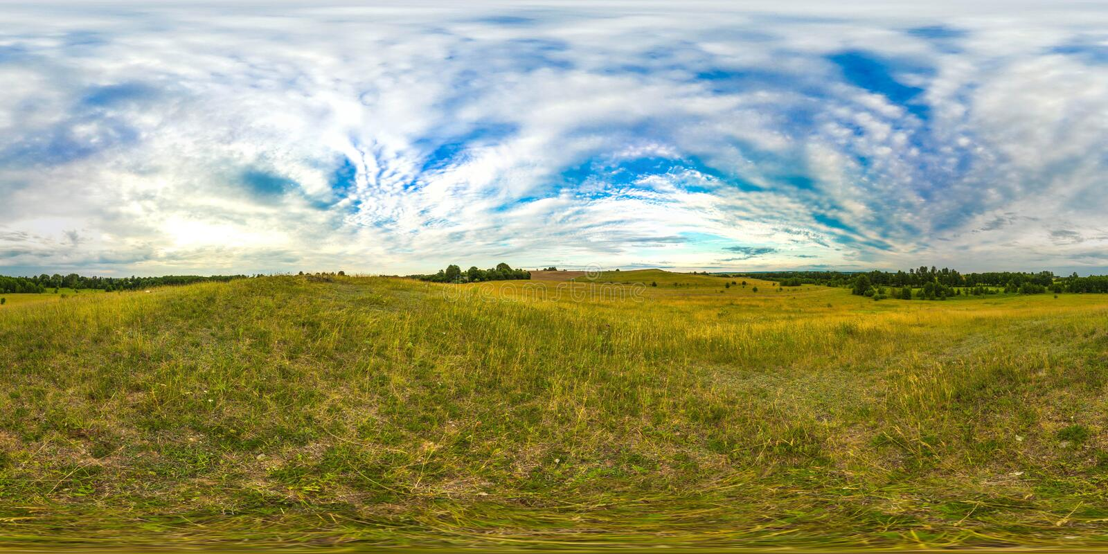 Sunset or sunrise in the green field with blue sky. Image with 3D spherical panorama with 360 viewing angle. Ready for virtual vector illustration