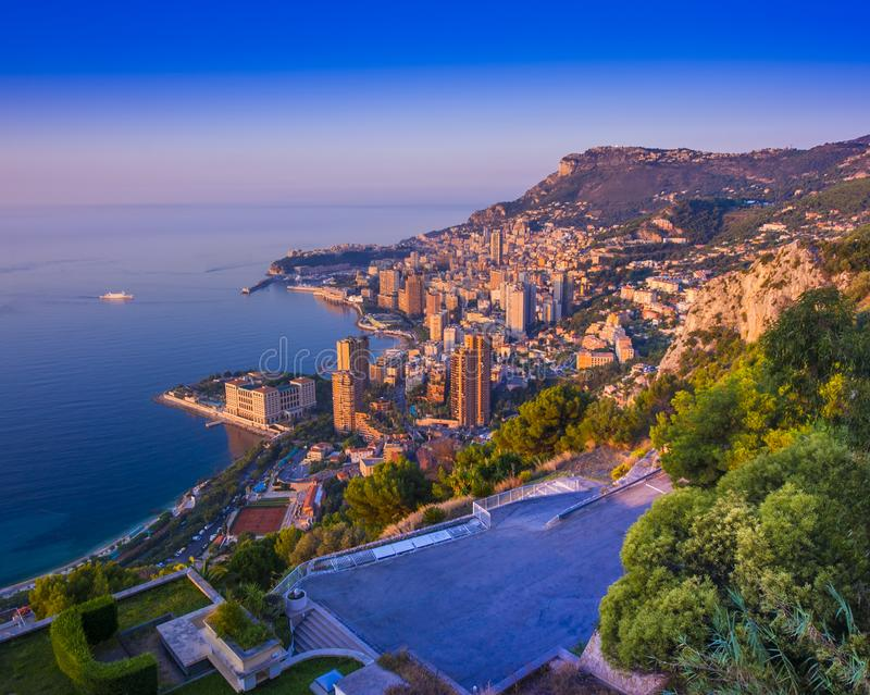 Sunset or sunrise in Monte Carlo city stock photography