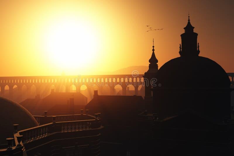 Sunset Sunrise in Rome 3D render. Peaceful church stock image