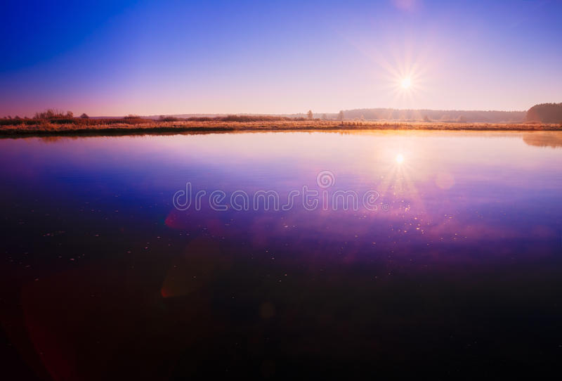 Sunset Sunrise Sun Rises Over River. stock photo