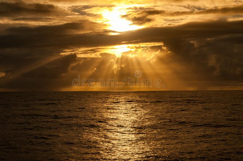 Sunset/sunrise time at offshore area. Sunset/ sunrise . Offshore area, coast os Rio de Janeiro, Brazil royalty free stock photos