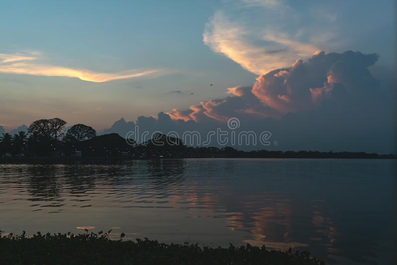Sunset or sunrise on Tissa lake. Travel destination, Sri lanka stock photos