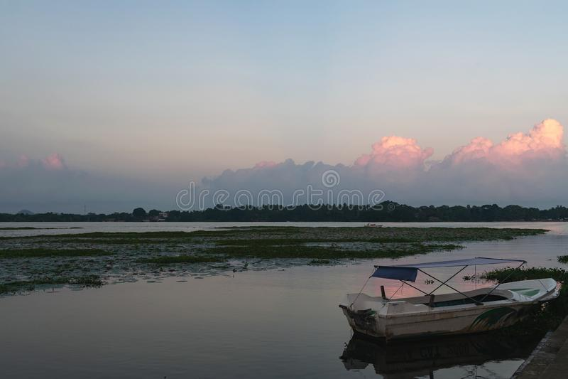 Sunset or sunrise on Tissa lake. Travel destination, Sri lanka stock photography