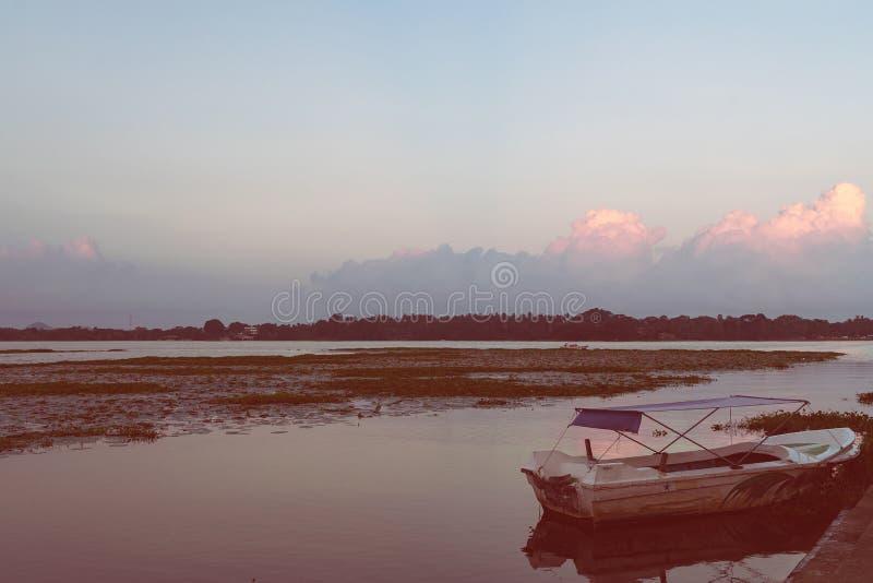 Sunset or sunrise on Tissa lake. Travel destination, Sri lanka royalty free stock image