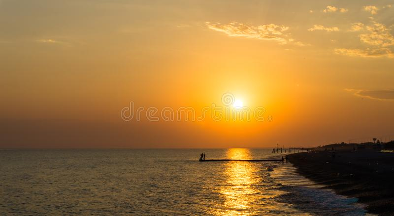 Sunset, sunrise view postcard sea coast royalty free stock photos