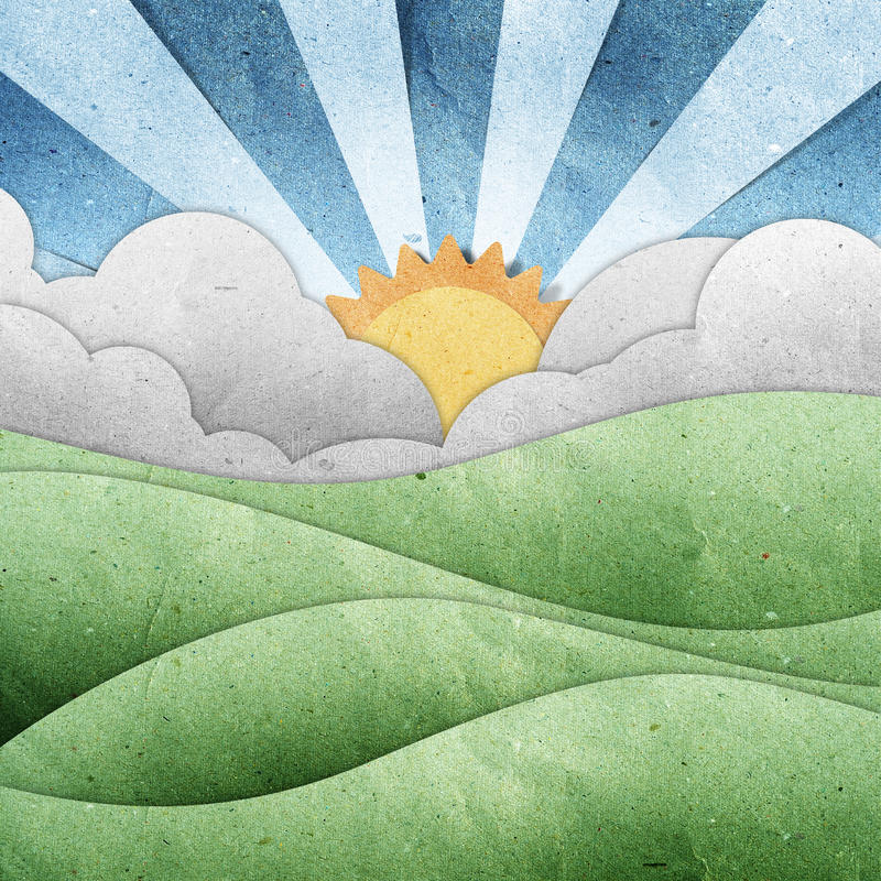 Download Sunset And Sunrise View Recycled Paper Craft Stock Illustration - Image: 20324710