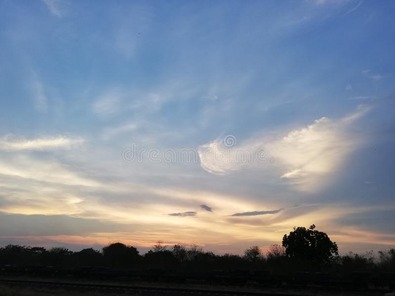 Sunset sunshine fullview sky. Sdr royalty free stock image