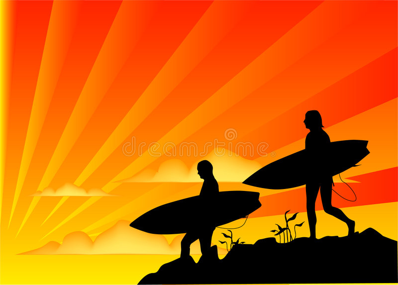 Sunset Surf. Illustration of two surfers at sunset