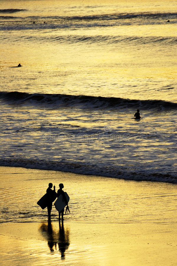Sunset Surfers royalty free stock image