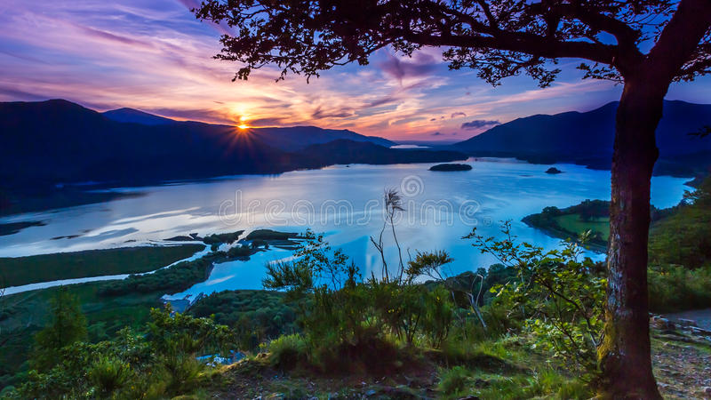 Sunset from Surprise View looking over both Derwent Water and Bassenthwaite royalty free stock photos