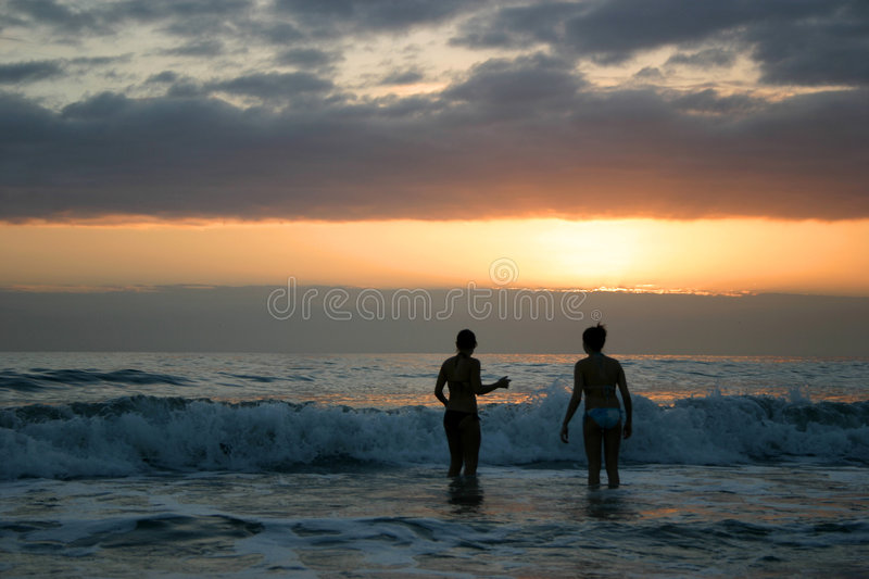 Sunset Swim stock image