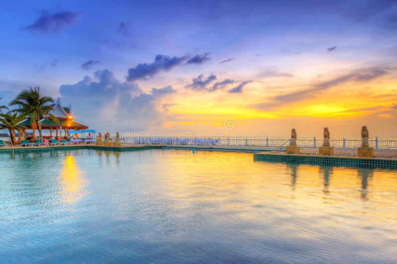 Download Sunset at swimming pool stock image. Image of luxury - 31658033