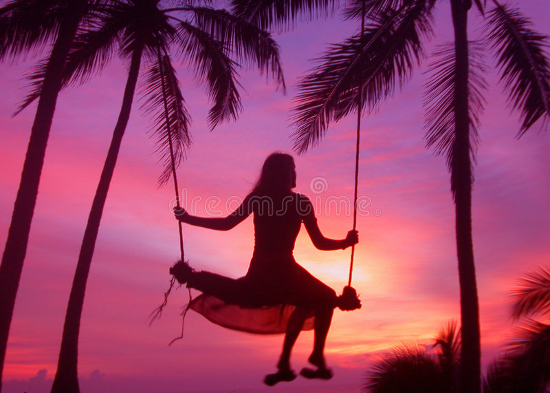 Sunset Swing royalty free stock photo