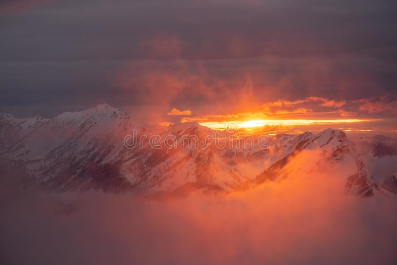 Sunset in the Swiss Alps at 2000 meters stock photos