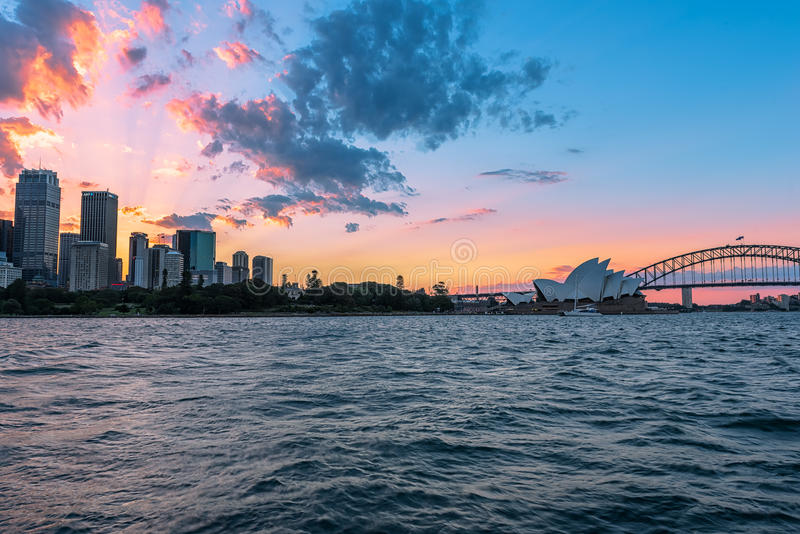 Sunset on the Sydney City Australia. FEB 3,2017 The City of Sydney is the local government area covering the Sydney central business district and surrounding stock photos