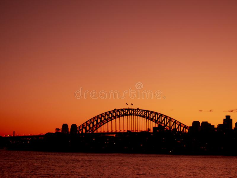 Dawn at Sydney harbour bridge. Sydney harbour bridge after sunset, Australia royalty free stock photos
