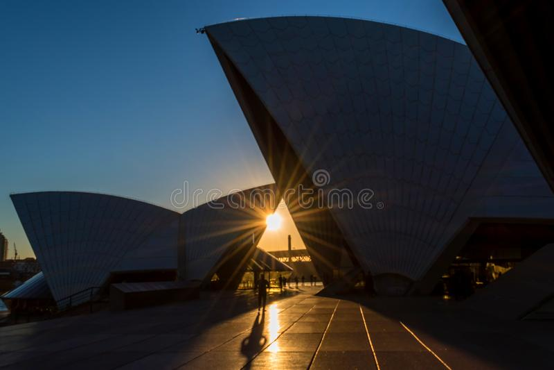 Sunset and Sydney Opera house stock photography