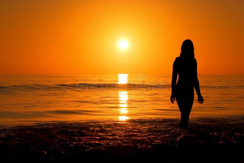 Sunset on te beach stock photos