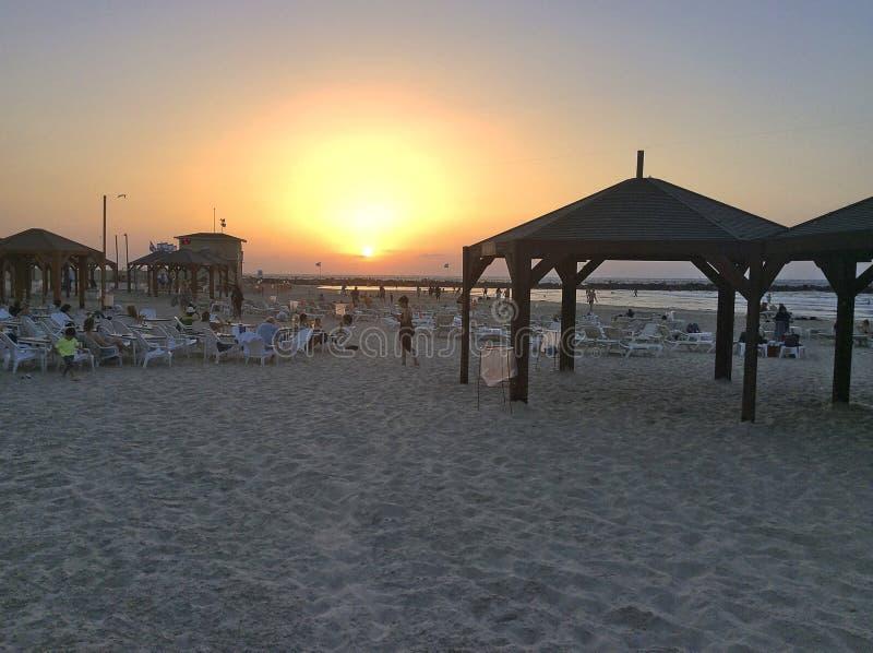 Sunset on Tel Aviv beach, Israel royalty free stock photos