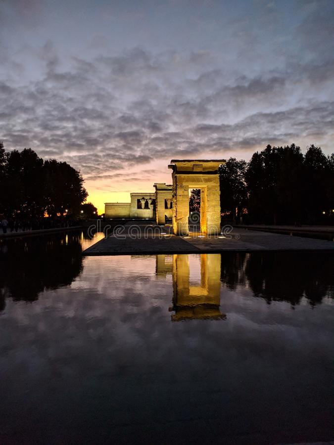 Sunset at Temple of Debod stock photo