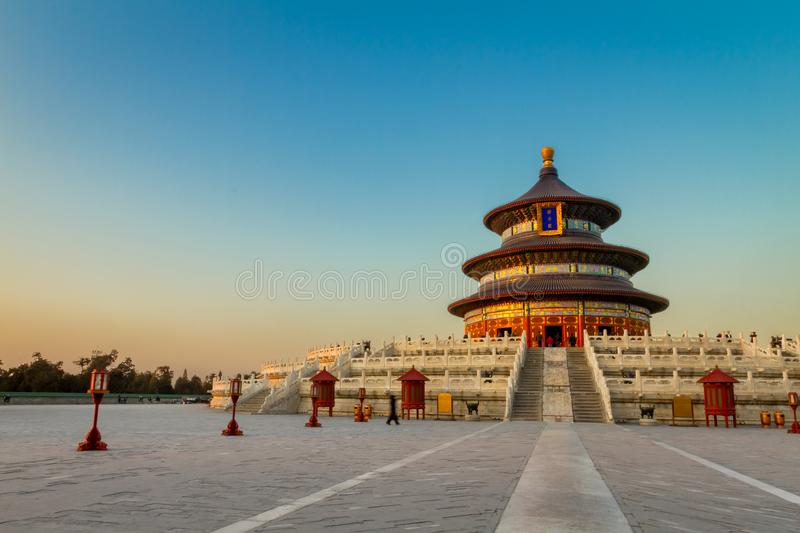 Temple of Heaven in Beijing China. Sunset in the Temple of Heaven in Beijing China royalty free stock photo