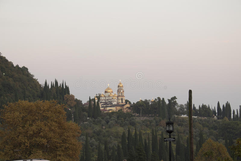 Sunset at the temple stock photography