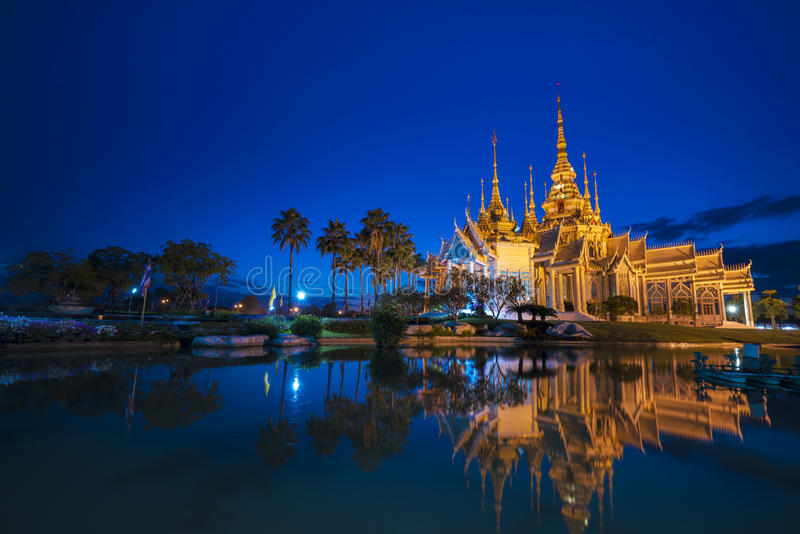 Sunset in temple at Wat None. In Nakhon Ratchasima province Thailand royalty free stock photos