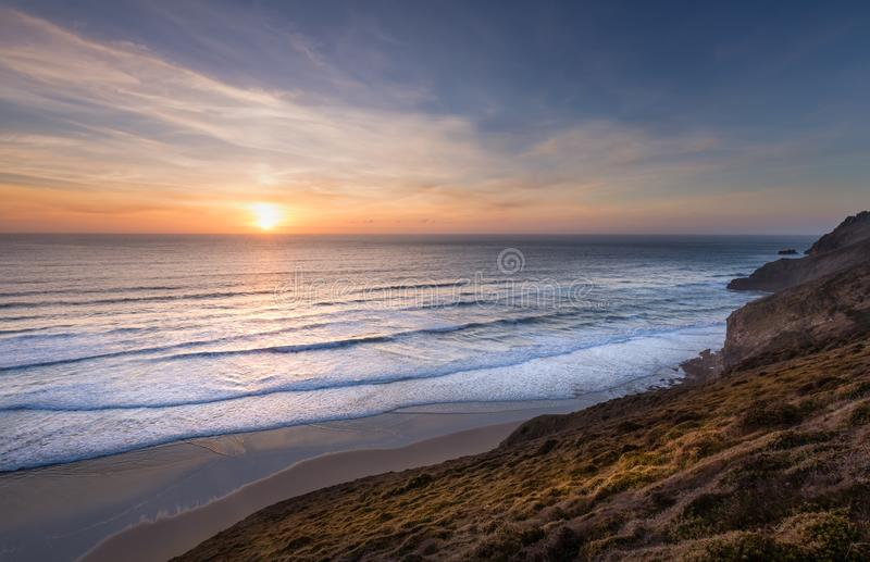 Sunset on th North Cornwall Coast stock image