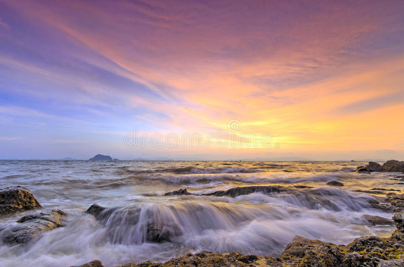 Sunset at Thailand stock images