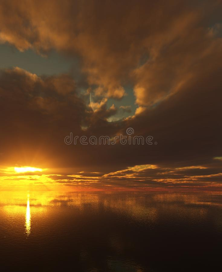 Sunset and thick clouds over a calm ocean