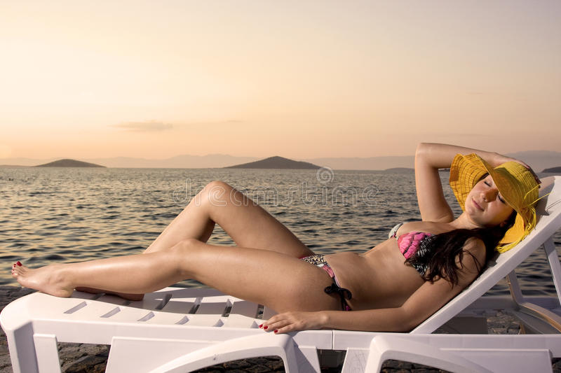 Download Sunset time stock image. Image of girl, body, finish - 14911743