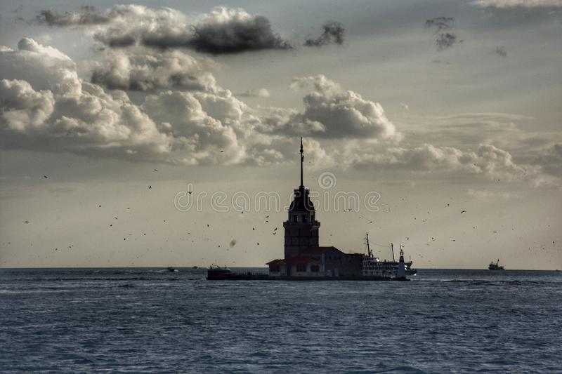 The Maiden`s Tower on sea in Istanbul, Turkey royalty free stock photo