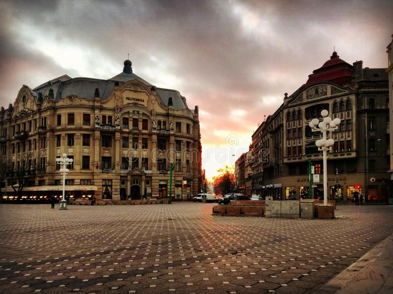 Timisoara. Sunset in Timisoara stock photography