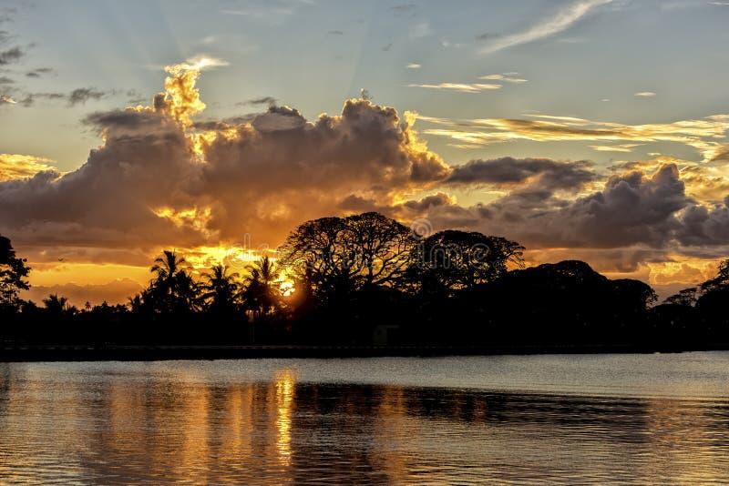 Sunset of Tissa lake. The beautiful sunset of the Tissa lake in Sri Lanka royalty free stock photography
