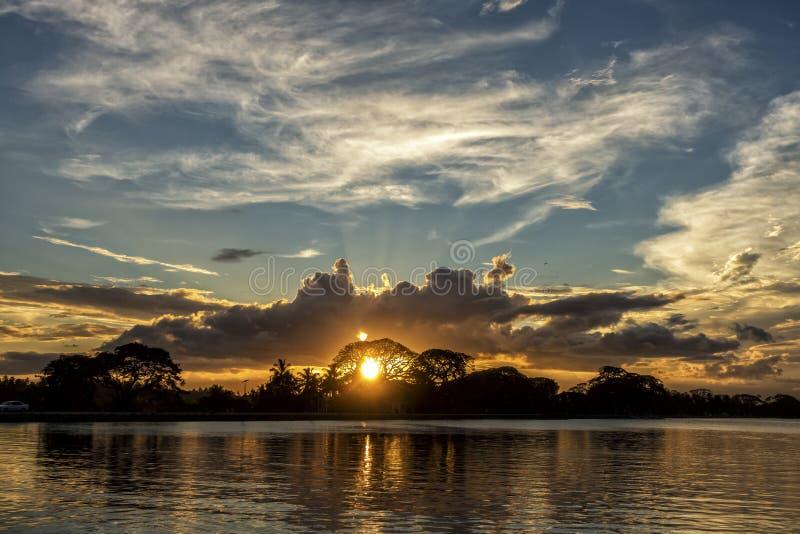 Sunset of Tissa lake. The beautiful sunset of the Tissa lake in Sri Lanka stock photos