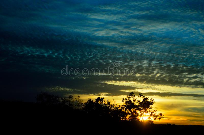 A sunset to enchant our eyes. A special image I saw while traveling. The sun saying goodbye stock images