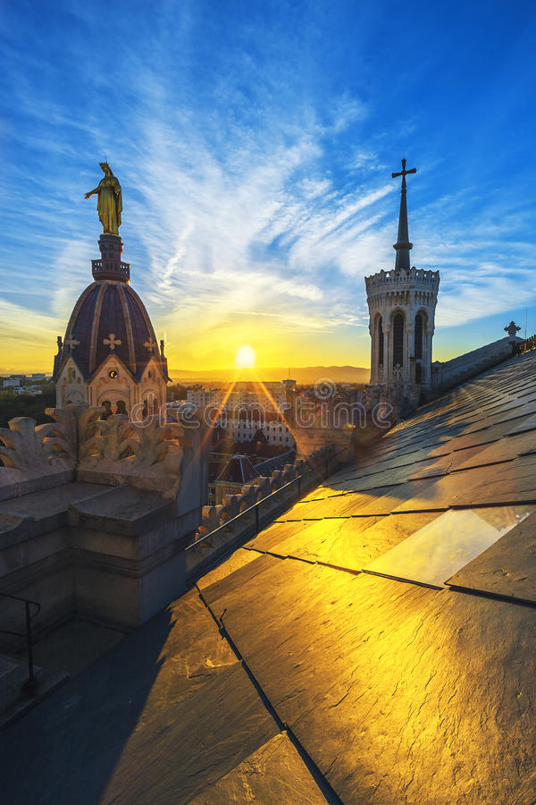 Sunset on the top of basilica royalty free stock photos