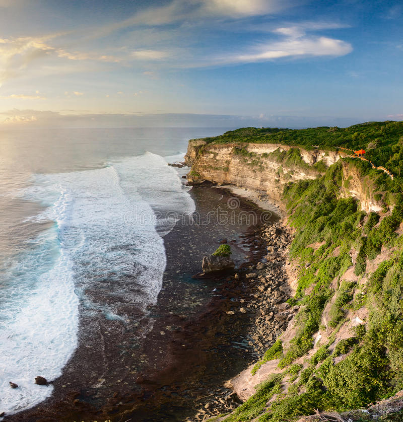 Sunset from the top of cliff stock photography