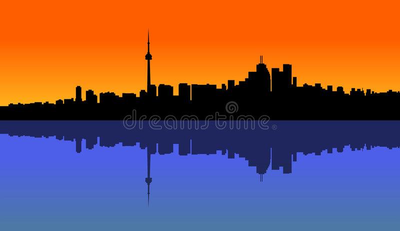 Sunset Toronto. Illustration of a Toronto sunset and the reflection on the lake royalty free illustration