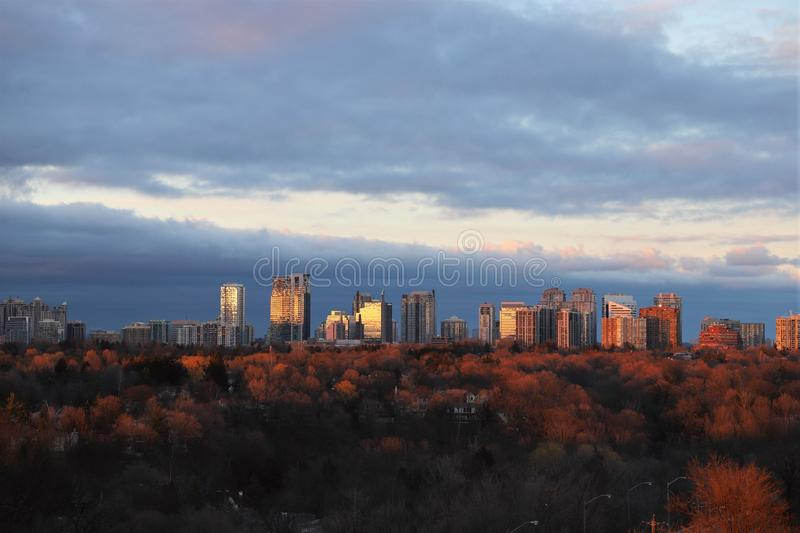 Sunset in Toronto royalty free stock photography