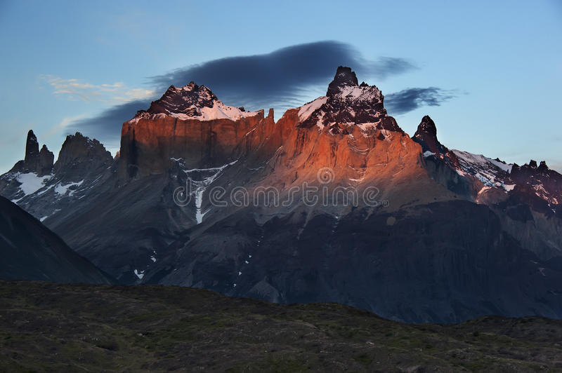 Sunset in Torres del Paine stock photo