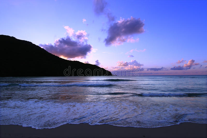 Sunset in Tortola Virgin Islands. Magnificent sunset over Brewers Bay on Tortola - British Virgin Islands royalty free stock photography