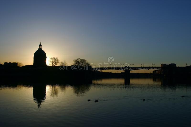 Download Sunset at Toulouse stock image. Image of garonne, europe - 24789813