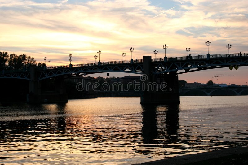 Download Sunset in Toulouse stock image. Image of bridges, garonne - 415965