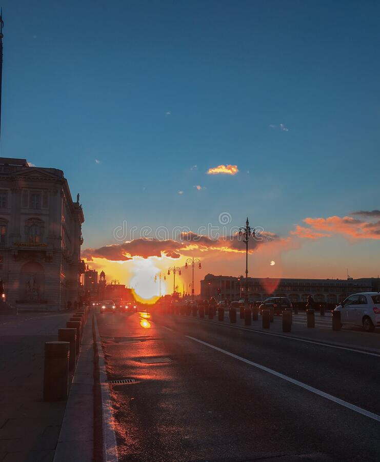 Sunset town view in Trieste, Italy stock images