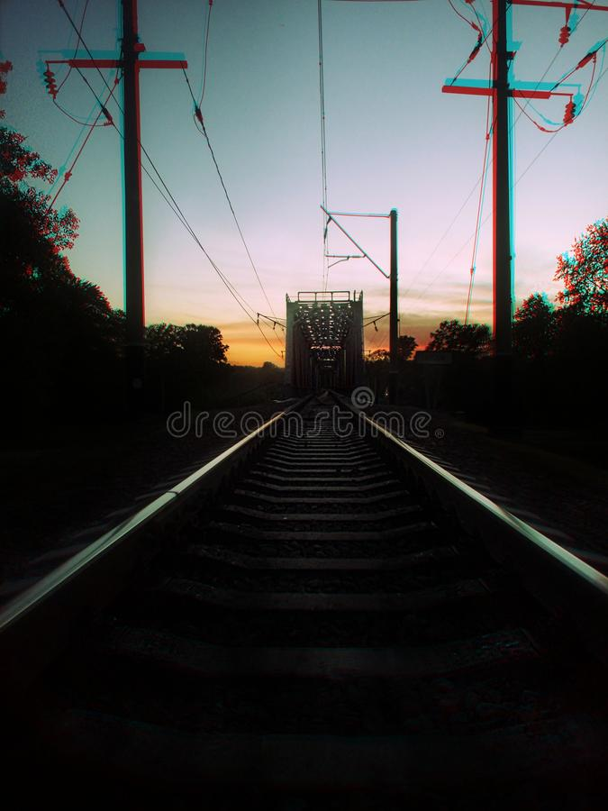 Sunset on train road stock photography